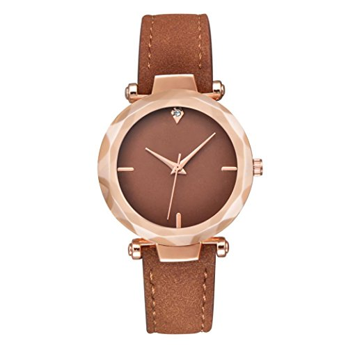 Paymenow Clearance Women Casual Watches Fashion Crystal Analog Quartz Watches Wrist Watch On Sale (Brown)