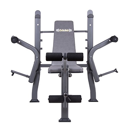 Body Champ BCB500 Black Friday Fitness Cyber Monday PROMO! Standard Weight Bench with Butterfly and Leg Lift Curl Developer Extension Attachment / Space Saving, Dark Gray/Black