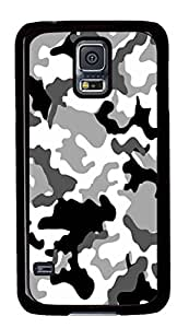 Grey Camo Polycarbonate Hard Case Cover for Samsung Galaxy S5 Black