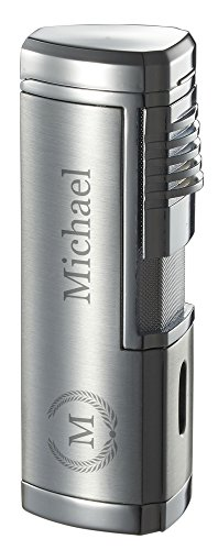 (Personalized Visol Pyrgos Silver Satin Quad Torch Flame Cigar Lighter)