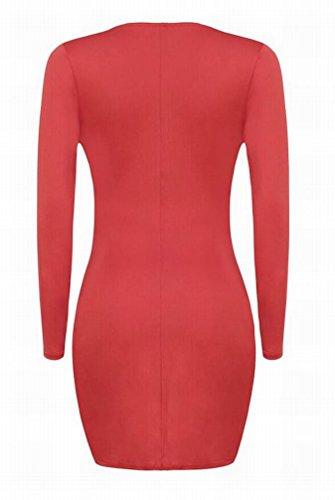 Domple Noeud De Torsion V-cou Profond Sexy Bandage Féminin Mini Robe Moulante Clubwear Rouge