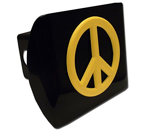Peace Sign (Yellow) ALL METAL Black Hitch Cover