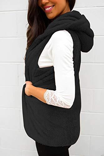 Termica Invierno Otoño Chaleco Mujer De Chaquetas Negro Ocasional Outerwear Abrigos Color Sin Ropa Fashion Sólido Piel Encapuchado Vintage Elegantes Mangas qR7qStWF