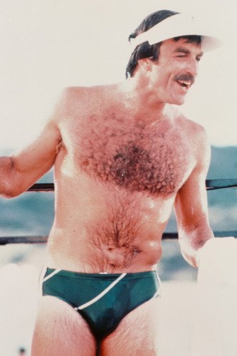 (Tom Selleck in Magnum, P.I. 24x36 Poster barechested in tight swim shorts)