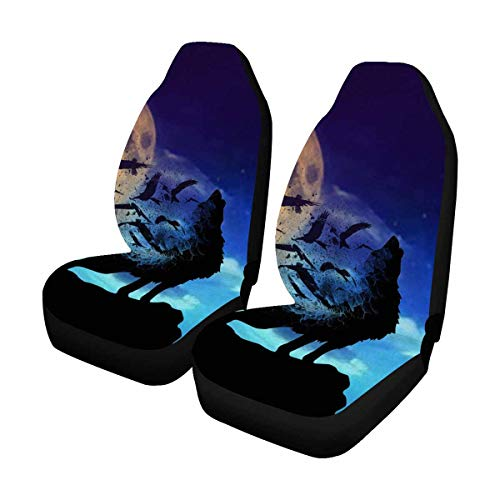 INTERESTPRINT Howling Wolf Auto Seat Covers 2 pc, Car Seat Covers Front Seats Only Universal Fit