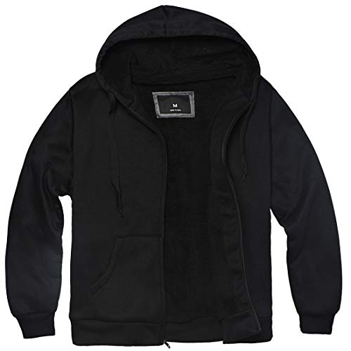 Plus Size S - 5XL Fleece Hoodies for Men Heavyweight Full Zip Up Long Sleeve Solid Black Grey Zipper Sherpa Lined Jackets (Black, L)