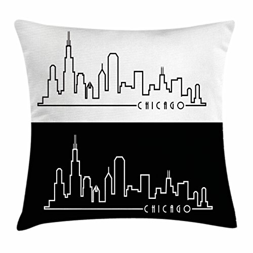 Chicago Skyline Throw Pillow Cushion Cover by Ambesonne, Minimalist Style Urban Plan View City Chart Sketch American Abstract, Decorative Square Accent Pillow Case, 18 X 18 Inches, Black and White