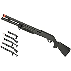 Evike CYMA Polymer M870 3-Round Burst Multi-Shot Shell Loading Airsoft Shotgun - Full Stock/Long Barrel - (63532)