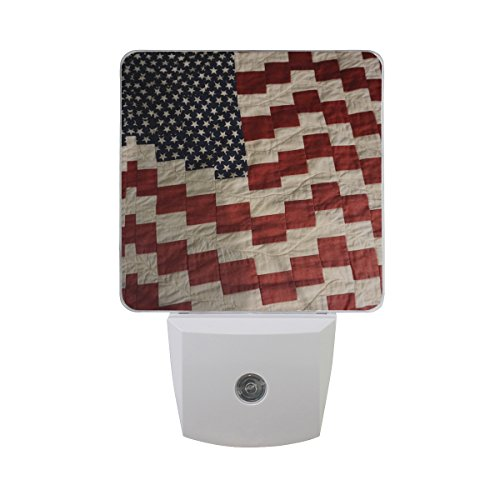 Naanle Set of 2 American Flag Quilt Memorial Day 4Th of July Independence Day Patriots Love USA Patriotic Auto Sensor LED Dusk to Dawn Night Light Plug in Indoor for Adults by Naanle
