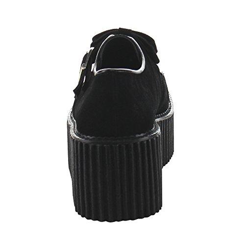 Creeper-213 met strik en hart hangslot detail suede zwart - Emo Gothic