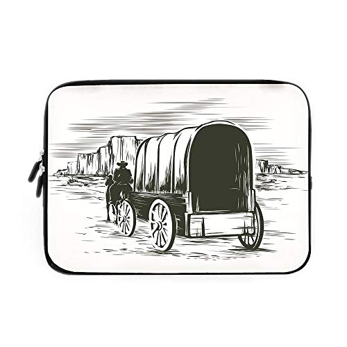 (Western Laptop Sleeve Bag,Neoprene Sleeve Case/Old Traditional Wagon Wild West Prairies Pioneer on Horse Transportation Cart Decorative/for Apple MacBook Air Samsung Google Acer HP DELL Lenov)