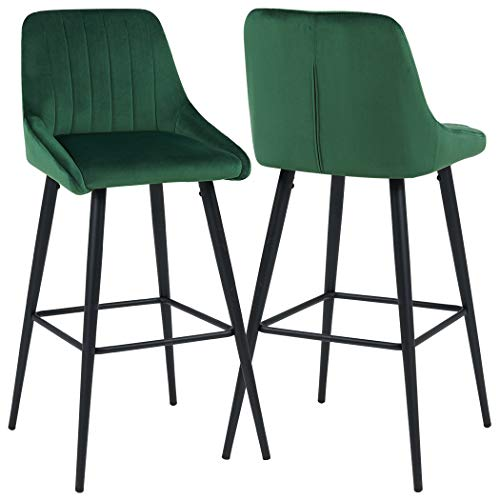 (Duhome Elegant Lifestyle Bar Stools Counter Height Set of 2 Barstools Velvet Stool Modern Bar Chairs with Green Bar Stool Kitchen Counter Stools Dining Chairs)