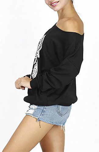 QZUnique Women's Digital Print Long Sleeve Strapless Pullover Fleece Sweatshirt Bell Black,One Size