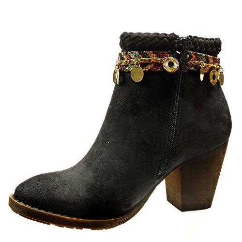 Angkorly - Scarpe da Moda Stivaletti - Scarponcini low boots donna catena metallico fibbia Tacco a blocco tacco alto 7.5 CM - Nero