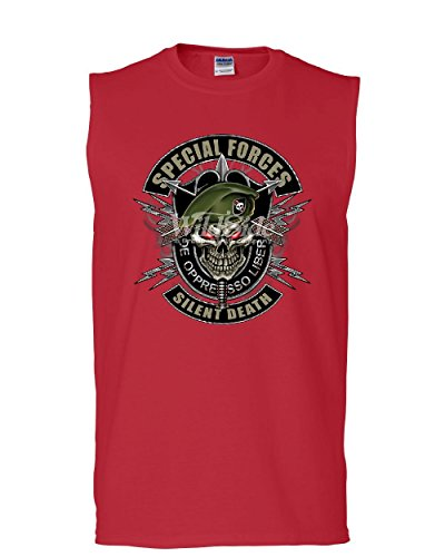 Special Forces Skull T-shirt Top - Tee Hunt Special Forces Muscle Shirt Army Silent Death Green Berets Skull Sleeveless Red 2XL