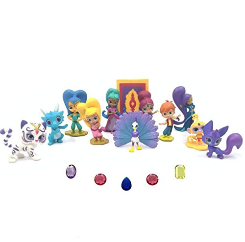 - Fam Le Fun 12 pcs Shimmer and Shine Figures and 5 Genie Gems Set Cake Toppers 1-2 inch PVC Toys