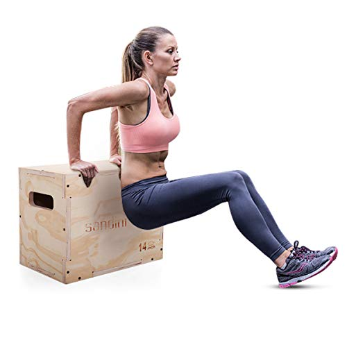 LAZYMOON 3 in 1 Wooden Plyo box 16x12x14 Inch CrossFit Plyometrics Jumping Trainer image