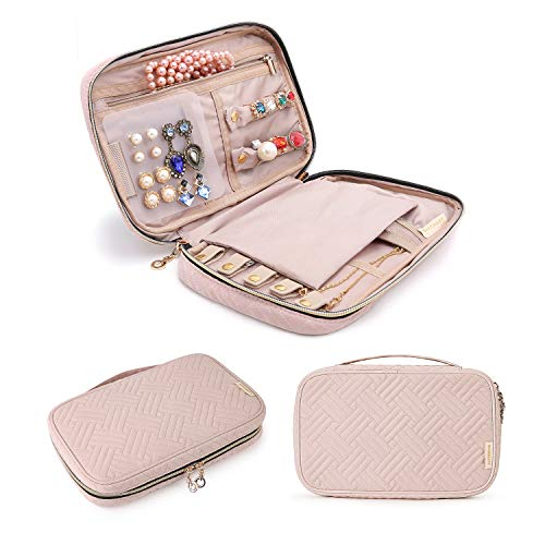 BAGSMART Jewelry Organizer Case Travel Jewelry Storage Bag for Necklace, Earrings, Rings, Bracelet, Pink