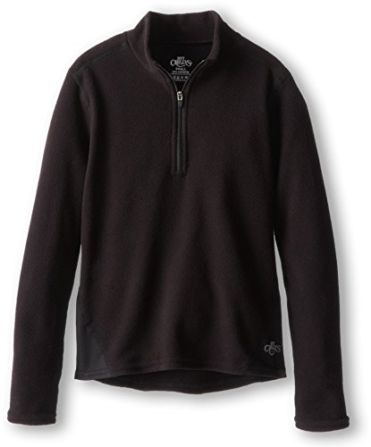 Hot Chillys Youth La Montana Zip Base Layer Top, Black/Black, Small