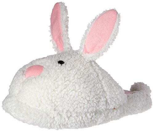 Classic Bunny Slippers - Plush Rabbit Animal Slippers - (Medium) White -