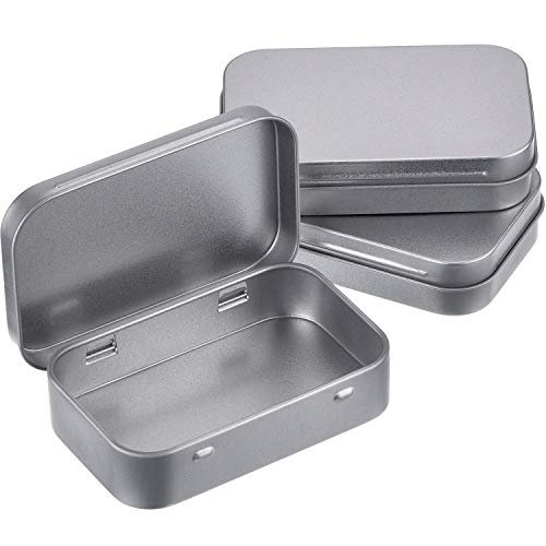 3 Pack 3.75 by 2.45 by 0.8 Inch Silver Metal Rectangular Empty Hinged Tins Box Containers with Lids Mini Portable Box Small Storage Kit, Home Organizer