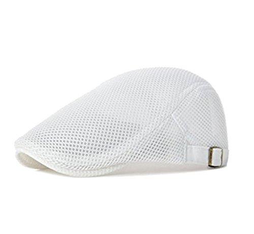 Men's Breathable Mesh Summer Hat Newsboy Beret Ivy Gatsby Cabbie Flat Snap Cap White - Mens Hat Beret With Brim