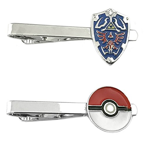 Outlander Video Games - Legend of Zelda Shield & PokeMon PokeBall - Tiebar Tie Clasp Set of 2 Wedding Superhero Logo w/Gift Box by Outlander