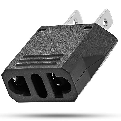 - European Adapter, Fosmon Type C EU to USA & Canada Travel Adapter Plug, 2 Prong Universal Power Converter (Black)