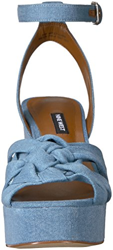 Light Blue Mujeres Nine Denim Tacón West Sandalias Talla De zqHqwCYx0