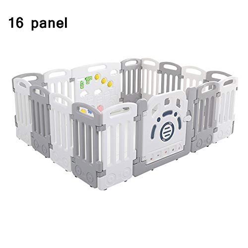 QFFL Baby Playpen, 16 Panel Safety Activity Center Play Yard Portable Plastic Children