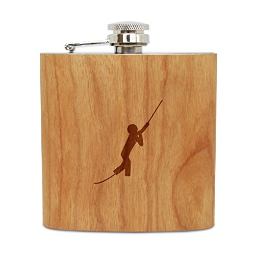 WOODEN ACCESSORIES COMPANY Cherry Wood Flask With Stainless Steel Body - Laser Engraved Flask With Rope Swing Design - 6 Oz Wood Hip Flask Handmade In USA