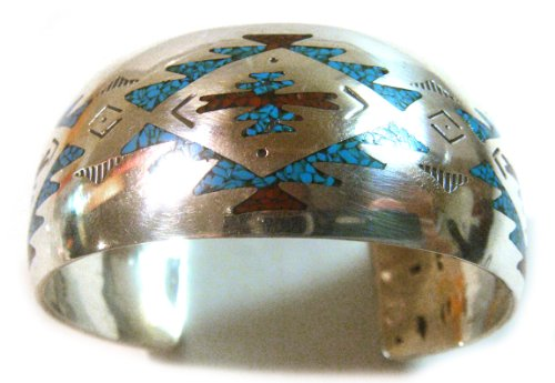 - Navajo Cuff Bracelet Signed B Sterling Silver with Chips Inlay