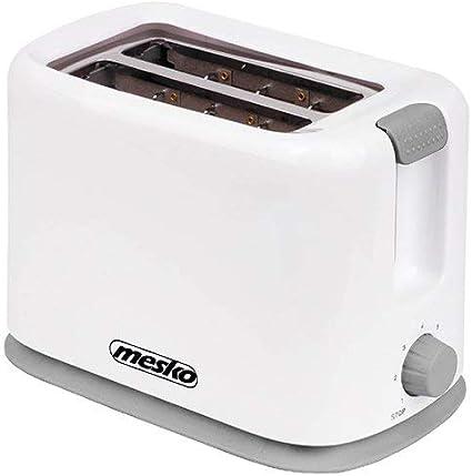 Mesko MS3213 Tostadora Pan Doble, 2 Ranuras, 750 W, regulador de Nivel de Tostado, Bandeja de Migas, Plastico Y Aluminio, Blanco/Gris