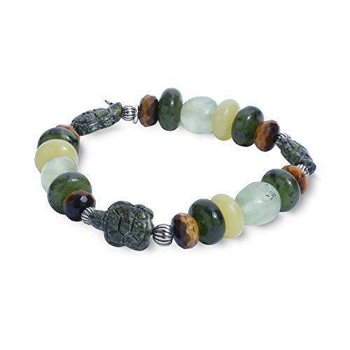 (Sterling Silver Turtle Multicolor Stretch Bracelet - LARGE)