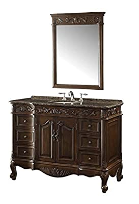 "42"" Baltic Brown Granite counter top Beckham Bathroom Sink Vanity & Mirror Set SW-3882SB-TK-42/MR-3882"