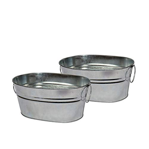 CHILDHOOD 2 Pack of Versatile Galvanized Metal Tub for Plants, Bar Snacks Container for Wedding & Parties, Cat Litter Scoop Holder, 8