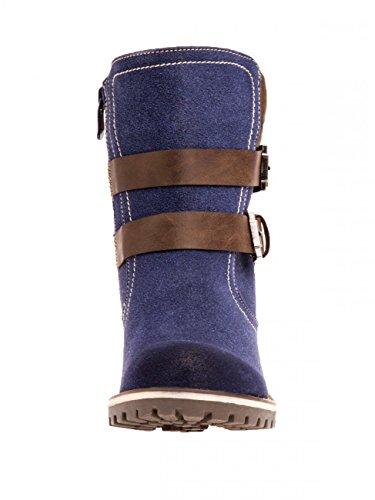 SBO073 Damen Kunstleder Stiefel Blau Wildleder CASPAR pHq0wAH