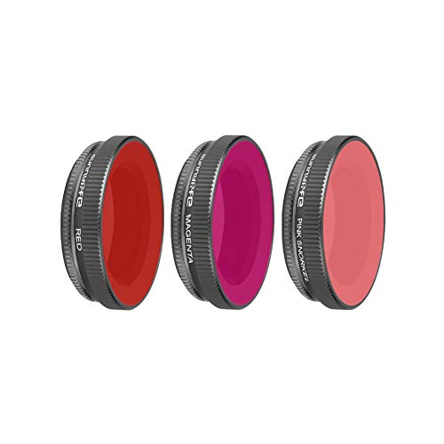 Helistar 3 Pack Dive Filter Compatible with DJI Osmo Action Camera Super Suit Dive Housing - Red, Pink Snorkel and Magenta Diving Filters - Enhances Colors for Underwater Video and Photographs