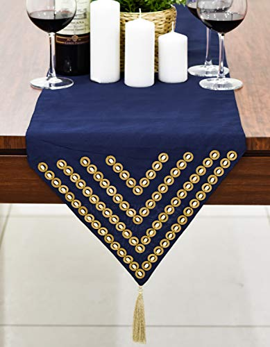 The White Petals Navy Blue Beaded Table Runner (Faux Silk, Wood Bead, 14x72 inch, Pack of 1)