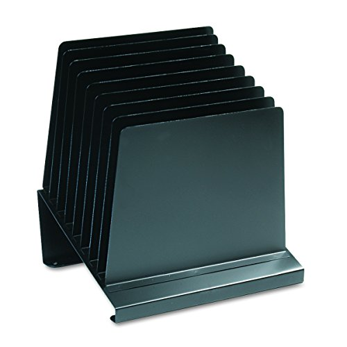 STEELMASTER 8-Slot Slanted Steel Vertical Organizer, 11 x 12 x 9.25 Inches, Black (264808BK)