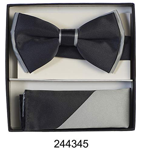 Men's Premium Metallic and Rhinestone Bow Ties for Suits and Tuxedos - Many Colors (Two Tone Charcoal Gray with - Gray Charcoal Tuxedo