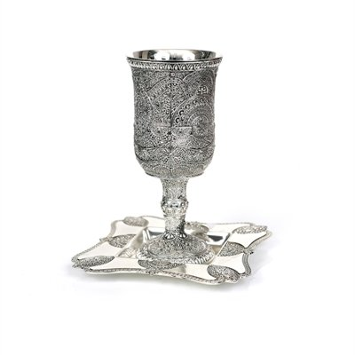 Filigree Design Nickel Plated Kiddush Wine Goblet with Matching Coaster - Filigree Kiddush Cup