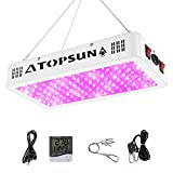 Morsen 1200W LED Plant Grow Light,with Thermometer Humidity Monitor,with Adjustable Rope,Full Spectrum Double Switch Plant Light for Indoor Plants Veg and Flower- 1200W(10W LEDs 120Pcs)