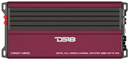 DS18 CANDY-X5RD Red 2000 Watts Max Full Range 5 Channel Class D Amplifier with Remote Subwoofer Level Controller