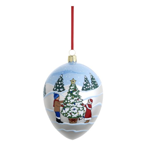 Reed & Barton C3974 Decorating The Tree Egg, 4.25-Inch