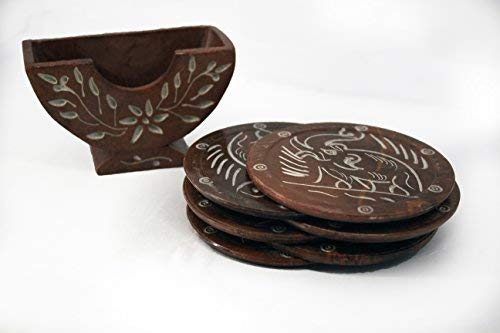 HandMadeCart Set of 6 Round Red Stone Coasters with Holder, engraved/carved design art for home kitchen - coasters for drink, house decor, coaster set, table coasters, coasters for drinks absorbent ()