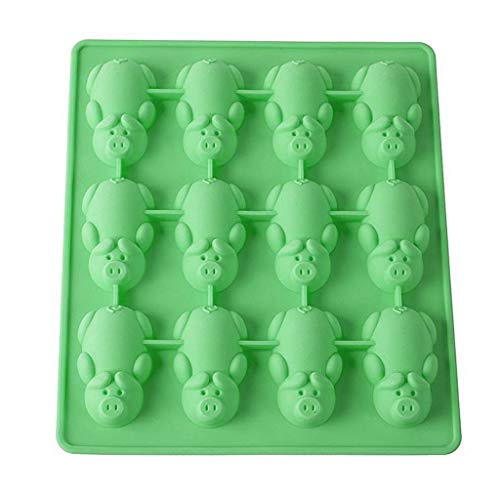 Buyeverything Non Stick 12 Little Pigs in a Blanket Silicone Baking Mold Food Grade BPA Free Piggy Molds Gummy Candy Mold Jelly Chocolate Cake Molds Ice Cube Tray Muffin Cup Cake Mold (Green) for $<!--$1.99-->