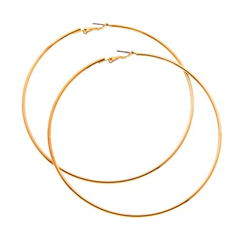 Gold Plated Circle Hoop Earrings 90mm LARGE (Standard & Most Popular Size) Large Standard Circles