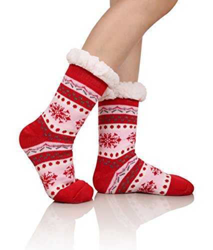 (DoSmart Womens Winter Thermal Snowflake Fleece Lining Fuzzy Warm Indoor Home Socks (Red))
