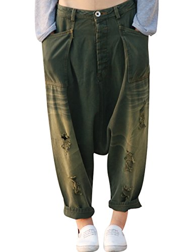 Youlee Femmes Taille lastique Jambe Large Harem Pantalon Trou Jeans Style 10 Rouge